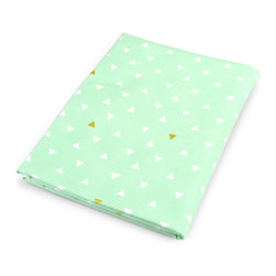 OLLI+LIME - Mint Triangle Crib Sheet - Soft cotton fitted crib sheet in mint and metallic gold triangle design. Fits standard-sized US crib. One-inch elastic for a safe and secure fit.