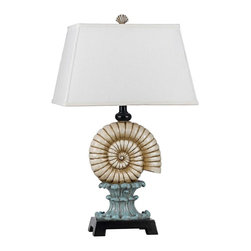 "Cal Lighting - Coastal Bluebell Conch Shell Table Lamp - A realistic conch shell sits atop an antique architectural pedestal in cool bluebell finish in this distinctive table lamp. A Marine Bronze finish stand accents add warmth and contrast to the look. A white fabric rectangular shade finishes off this design and adds heft to its appeal. Coastal conch shell table lamp. Bluebell and white shell finish. Classic conch shell body. Resin construction. Deep Marine Espresso base and details. White fabric rectangular shade. 29"" high. Shade is 10 1/2"" across the top 16"" across the bottom and 11"" high. Base is 8"" wide and 5"" high.  Coastal conch shell table lamp.  Bluebell and white shell finish.  Classic conch shell body.  Resin construction.  Deep Marine Espresso base and details.  White fabric rectangular shade.  Design by Cal Lighting.  One max 150 watt 3-way bulb (not included).  3-way switch.  29"" high.  Shade is 10 1/2"" across the top 16"" across the bottom and 11"" high.  Base is 8"" wide and 5"" high."