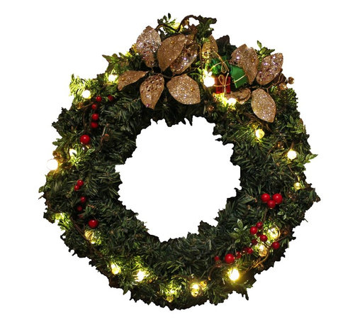 The Firefly Garden - Christmas Morning - Illuminated Floral Design - Christmas Morning is an 18 inch wreath combining the deep textures and pine with brilliant, illuminated branch work. This lighted holiday wreath operates on 3 replaceable AA batteries. It makes for a lovely door or window accent, as well as a table centerpiece for celebrations.