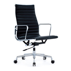 Eames-Style Aluminum Group Office Chairs, Black, Executive (High-Back) - Eames-inspired Aluminum Group Style Management Office Chair. Originally designed in 1958, this chair became a staple as a mid-century modern classic. The Aluminum Group Style Management office chair is Set on a five-point base, these chairs sit on tubular steel columns and swivel for easy entry and exit.