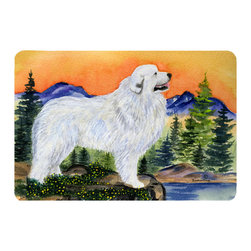 Caroline's Treasures - Great Pyrenees Kitchen or Bath Mat 20 x 30 - Kitchen or Bath Comfort Floor Mat This mat is 20 inch by 30 inch. Comfort Mat / Carpet / Rug that is Made and Printed in the USA. A foam cushion is attached to the bottom of the mat for comfort when standing. The mat has been permanently dyed for moderate traffic. Durable and fade resistant. The back of the mat is rubber backed to keep the mat from slipping on a smooth floor. Use pressure and water from garden hose or power washer to clean the mat. Vacuuming only with the hard wood floor setting, as to not pull up the knap of the felt. Avoid soap or cleaner that produces suds when cleaning. It will be difficult to get the suds out of the mat.