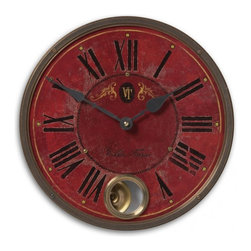 "Uttermost - Red Antiqued Wall Clock with Internal Pendulum 11"" - Vintage  Red  VIlla  Tesio  Clock  11          Vintage  Clock  with  crackled  and  weathered  clock  face  on  wood  laminate.  The  outer  rim  is  constructed  from  antiqued  nickel-plated  cast  brass.  Includes  an  internal  pendulum.  Villa  Tesio  style  clock  with  black  roman  numerals.  Requires  1-AA  battery."
