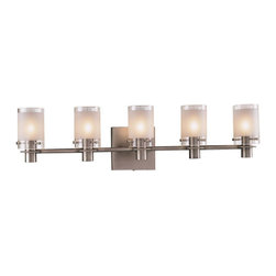 Minka George Kovacs - Minka George Kovacs Chimes 5-Light Antique Nickel Clear/Acid Etched Glass Vanity - This 5-Light Vanity is part of the Chimes collection and has an Antique Nickel finish and Clear/acid Etched glass.