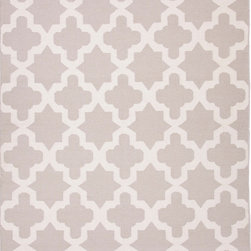 Jaipur Rugs - Flat-Weave Moroccan Pattern Wool Gray/Ivory Area Rug - An array of simple flat weave designs in 100% wool - from simple modern geometrics to stripes and Ikats. Colors look modern and fresh and very contemporary. Origin: India