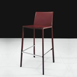 Modloft - Modloft | Sanctuary Barstool - Made in Brazil by Modloft.The Sanctuary Barstool features a stainless steel frame, fully wrapped in leather. Exposed stainless steel foot bar. Available in your choice of leather color.