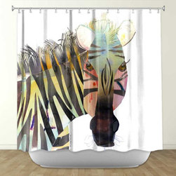 Shower Curtain HQ - Zebra by Marley Ungaro Fabric Shower Curtain, Made in the USA