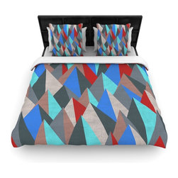 "Kess InHouse - Michelle Drew ""Mountain Peaks II"" Blue Red Cotton Duvet Cover (Queen, 88"" x 88"") - Rest in comfort among this artistically inclined cotton blend duvet cover. This duvet cover is as light as a feather! You will be sure to be the envy of all of your guests with this aesthetically pleasing duvet. We highly recommend washing this as many times as you like as this material will not fade or lose comfort. Cotton blended, this duvet cover is not only beautiful and artistic but can be used year round with a duvet insert! Add our cotton shams to make your bed complete and looking stylish and artistic!"