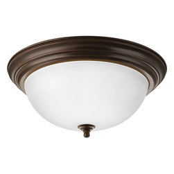 Progress Lighting - Progress Lighting P3926-20Et Three-Light Close-To-Ceiling Etched Glass Bowl - Three-light flush mount with dome shaped glass, solid trim and decorative knobs.