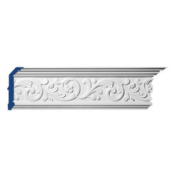 """Inviting Home - Savannah Crown Molding - Savannah crown molding 5-7/8""""H x 2-1/2""""P x 6-3/8""""F x 7'10""""L; design repeats every 11-1/4"""" 4 piece minimum order required crown molding specifications: - outstanding quality crown molding made from high density polyurethane environmentally friendly material is hypoallergenic and fully recyclable no CFC no PVC no formaldehyde; - front surface of this molding has extra durable and smooth surface; - crown molding is pre-primed with water-based white paint; - lightweight durable and easy to install using common woodworking tools; - metal dies were used for consistent quality and perfect part to part match for hassle free installation; - this crown molding has sharp deep and highly defined design; - matching flexible molding available; - crown molding can be finished with any quality paints; - there is a four piece minimum requirement for this molding purchase; Polyurethane is a high density material--it's extremely lightweight and easy to install (and comes primed and ready to paint). It is a green material meaning it's CFC and formaldehyde free. It is also moisture resistant--so it won't shrink flex or mold. What's also great about Polyurethane is that it's completely customizable and can be treated as wood (you can saw it nail it screw it and sand it). In addition our polyurethane material come primed and ready to paint."""