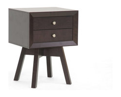 """Baxton Studio - Baxton Studio Warwick Brown Modern Accent Table and Nightstand - Warwick is a small-sized end table packed with modern details: two drawers, beveled edges, a showstopper of a base, and an overall mid-century modern aesthetic.  Dark brown faux wood grain paper veneer finishes off the engineered wood frame.  Non-marking feet and silvertone knobs complete the look.  Made in Malaysia, this designer end table also serves as a stellar modern nightstand.  Assembly is required.  To clean, dust with a dry cloth. Dimensions: 17.8""""Wx15""""Dx24""""H, drawer dimension:11.5""""Wx11.125""""Dx2.25""""H"""