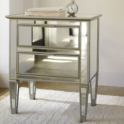 Park Mirrored Bedside Table - I love how mirrored furniture looks during the cold seasons, as it reflects light and has a sparkly look during the night. Make sure your bedside table is stocked with all the necessities your visitors may need: an alarm clock, a glass of water, a reading lamp, books and magazines.