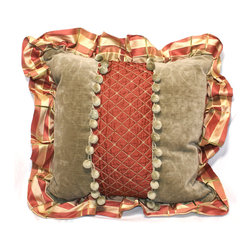RUSSET DIAMOND & SAGE VELVET PILLOW - Designer decorative pillow with russet diamond fabric and sage velvet pillow. Plaid silk ruffle and ball trim. Down insert  included.