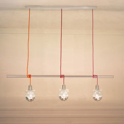 Lightology Collection - Ideabarra Suspension - The Ideabarra is the newest version of the idea. Includes a chrome bar with 3 lights. Suitable for rectangular tables. Available with Red, Clear, White/Grey or Multi-Colored cords. Three E27/Medium, 60 watt, 120 volt bulbs are included. Dimensions: 27.56 inch width x 98.425 inch adjustable height.