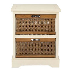 Safavieh - Dion Storage Unit - The British Colonial inspired Dion two-drawer storage cabinet in cream finished pine offers a relaxed vibe and generous storage with its amber-toned cane baskets with cutout handles for easy access. Some assembly required.