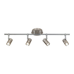 Contemporary Steel and Chrome 4-Light Circle Slot Track Fixture