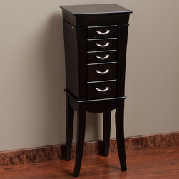None - Eiffel Black 5-Drawer Jewelry Armoire - An elegant design makes this 5-drawer jewelry armoire fit into any decor with its classic lines. Five lined drawers with silvertone pull handles hold your precious gems for easy access. The black wooden finish and concave shape add a look of opulence.