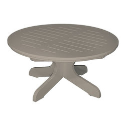 Poly Concepts - Poly Concepts Outdoor 36 in. Round Cocktail Table - JCT36R-W - Shop for Tables from Hayneedle.com! Enjoying cocktails with friends on a warm summer evening is even better with the Poly Concepts Outdoor 36 in. Round Cocktail Table. Durable and heavy duty titanium resin construction is UV- mildew- and stain-free for easy maintenance. The slotted top allows water to fall through so you won't have to worry about puddles. The pedestal base lets you pull up chairs without obstruction while the comfortable height is just right for a backyard seating arrangement. Stainless steel hardware is rust free. Available in your choice of color some assembly required. Made in the USA.About Poly ConceptsPoly Concepts LLC aims to unite comfort style and durability in environmentally-friendly ways that feature quality and virtually no maintenance. The diverse collection features an outstanding line of premium quality outdoor furniture used across many applications. Healthcare hospitality residential and recreational industries enjoy the performance and satisfaction these pieces provide. Manufactured from Andure these pieces won't experience the same weathering problems as other outdoor pieces. The titanium alloy/resin has substantial weight and won't peel chip fade crack yellow or require painting for a lifetime of worry-free maintenance.