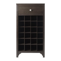 "Winsome Wood - Winsome Wood Ancona 24-Bottle Modular Wine Cabinet X-83729 - Add this compact Ancona Wine Modular unit to your home. Create a unique look with one unit or any combination of the three styles available.  This unit has a drawer for your accessories and holds 24 bottles.  Overall assembled size is 19.009""W x 12.60""D x 37.52"".  Insider drawer dimension is 15.47""W x 9.25""D x 4.65""H.  Individual wine cubby is 4""W x 3.9""H x 11.1""D.  Made with combination of solid and composite wood in Dark Espresso Finish.  Assembly Required."