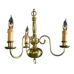 EuroLux Home - Consigned Vintage Flemish Chandelier in Brass with 3 Arms - Product Details