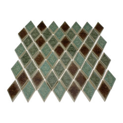 Roman Collection Verde Diamond Glass Tile, Sheet