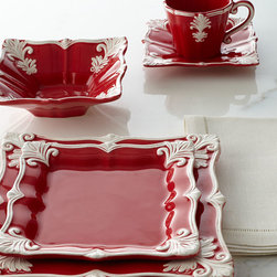 Holiday Entertaining - Exclusively ours. Beautifully detailed dinnerware features a unique square shape and an ornate Baroque design dressed in red for the holidays.