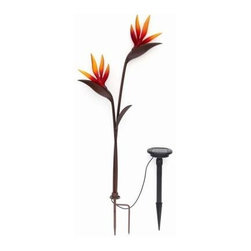 "Trendscape - Outdoor Lighting. Twin Head Bird of Paradise Bronze Solar LED Path Light - Shop for Lighting & Fans at The Home Depot. Solar powered garden Tropical ""Bird of Paradise"" with real art glass flowers which are hand crafted and light up with elegance at night. Position in your garden to add charm and lighting effects. Beautiful by day and night twin floral."