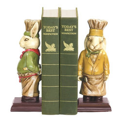 Sterling Industries - Sterling Industries Pair Chef Bunny Bookends X-9972-19 - A whimsical addition to a cook's bookshelf, this Sterling Industries bookend set is delightfully charming. The pair of chef bunnies each don a different color, with one bunny dressed in marigold and green, and the other bunny dressed in red and green. Classic chef hats add to the whimsical appeal.