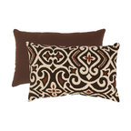 Pillow Perfect - Pillow Perfect Brown and Beige Damask Rectangular Throw Pillow - 475172 - Shop for Pillows from Hayneedle.com! An oversized modern damask pattern makes the Brown/Beige Damask Rectangular Throw Pillow a natural choice for updating your space. This pillow has a polyester shell with the brown and beige damask pattern on one side and solid chocolate brown on the reverse. It's filled with plush polyester fiber for style and comfort. The image shown indicates both front and back of pillow. About Pillow PerfectPillow Perfect was founded by Paul and David Ratner two brothers with a passion for comfortable design stylish functionality and a commitment to pleasing their customers. With over 25 years in the business the founders of Pillow Perfect operate just North of Atlanta Georgia and have been producing products that add style and color to home and patios across the US. Keeping up with styles trends consumer needs and quality assurance makes them a major player in the industry. Their manufacturing facility brings all their ideas together and makes them a reality for customers all over the country and through drop-ship online retailers all over the world.