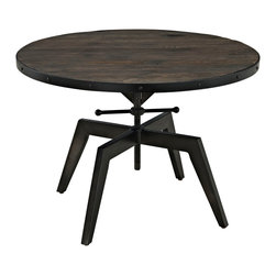 Industrial Round Coffee Table with Wooden Top and Black Iron Base Gaspar - Features: