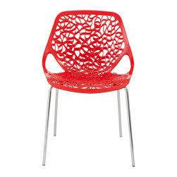 Euro Style - Euro Style Lovie Side Chair Set of 2 01175RED - Hector Guimard designed utilitarian Parisian metro stops that resemble living vines and lush gardens. The Lovie chair reminds us of that remarkable achievement. Giving fancy organic shape to a chair is a welcome amusement and a brave choice in design.