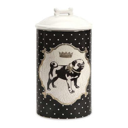 Dog Ceramic Canister Medium - Store all the essentials for your canine friend in this beautiful medium ceramic container with royal graphics.