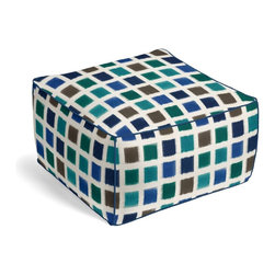 Blue & Teal Square Ikat Square Pouf - The Square Pouf is the hottest thing in decor since the sectional sofa. This bean bag meets Moroccan style ottoman does triple duty as a comfy extra seat, fashion-forward footstool, or part-time occasional table.  We love it in this woven cotton square ikat in oceanic tones of deep blue, teal, aqua & sand.