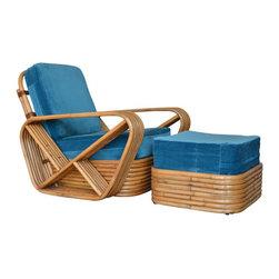 SOLD OUT!  Paul Frankl 6 Strand Rattan Arm Chair & Ottoman - $2,500 Est. Retail -