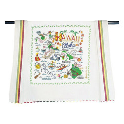 CATSTUDIO - Hawaii State Dish Towel by Catstudio - This original design celebrates the beautiful state of Hawaii and its beautiful islands and spirit of aloha. Carmel Swan-- one of the owners of Catstudio-- is a native of Hawaii and she worked long hours to make sure it's a beauty. It is!  This design is silk screened, then framed with a hand embroirdered border on a 100% cotton dish towel/ hand towel/ guest towel/ bar towel. Three striped down both sides and hand dyed rick-rack at the top and bottom add a charming vintage touch. Delightfully presented in a reusable organdy pouch. Machine wash and dry.