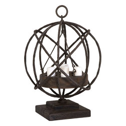 Uttermost - Sammy Candleholder - Made from plantation-grown mindi wood in a weathered chestnut finish with iron details. Seven white candles of various heights included.