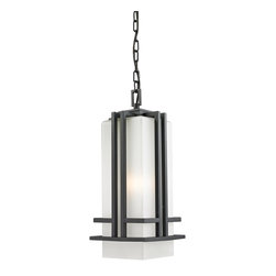Z-Lite - Z-Lite Abbey Outdoor X-KB-BHC945 - The geometric lines of the Abbey family combine well with contemporary home styling as well as homes in the craftsmen style.  This large chain light fixture is made of steel  and finished in black with matte opal glass.