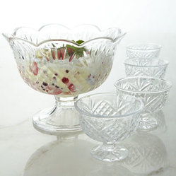 "Horchow - Five-Piece ""Dublin"" Dessert Set - Serve desserts in these cut crystal pieces and provide a sparkling finish to the meal. No wonder they're a classic favorite. Crystal. Hand wash. Set includes one serving bowl and four dessert cups. Each dessert cup, 4.5""Dia. x 3.5""T; holds 4 oz. Se..."