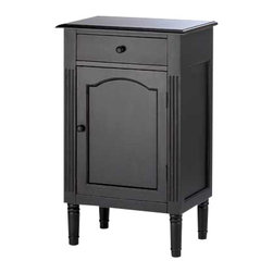 Furniture Creations - antiqued black wood cabinet - This charming hand-painted cabinet has so many uses---an appealing end table next to the sofa, beside the bed as a handy night stand, or an attractive catch-all cabinet for home office or bath.  Attractively weathered matte black finish and a simple shape allow this winsome furnishing to blend in with any decor.  Features one drawer above a generous single-door storage space.  Some assembly required.