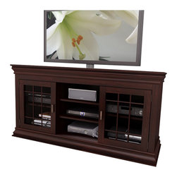 "Sonax - Sonax Carson 60"" Wood Veneer TV / Component Stand in Espresso - Sonax - TV Stands - B231NCT - Create a memorable centerpiece in your home with this timeless Television and Component Bench from the Carson Collection by Sonax. This transitional design embodies the sophisticated characteristics of a mantle while providing the function and storage of a television bench. Open shelves provide the ideal space for your center channel and audio equipment while adjustable interior shelves allow you to customize the space to suit your needs. Complete in our signature Dark Espresso wood veneer accented with shaker style tempered glass cabinet doors this prominent piece is a welcome addition to any room in your home. Specially designed to be easy to assemble this bench was built to accommodate most 42""-68"" TV's."