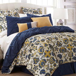 Colonial Home Textiles - Lorna Paisley Eight-Piece Reversible Comforter Set - Rich hues and elegant pinch pleats bring warmth and texture to bedroom décor, and smooth fabrics offer a soft touch.   Includes comforter, bed skirt, square pillow, boudoir pillow and four shams 100% microfiber polyester Machine wash; tumble dry Imported