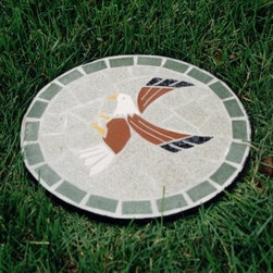 Oakland Living Stepping Stone Mosaic Eagle - Put some spring in your steps by adding the Oakland Living Stepping Stone Mosaic Eagle to your yard or garden. Each stepping stone is made of durable cast iron and hand-set mosaic tile with a hardened powder-coat finish for years of beauty. Each piece is hand-cast and finished for the highest quality possible. Includes a one-year limited manufacturer's warranty. No assembly required. Weight: 2 pounds. Dimensions: 12W x 12D x 0.5H inches.