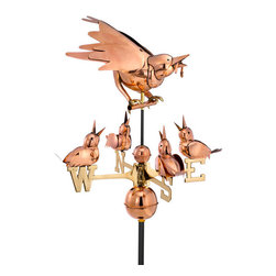 Good Directions, Inc. - Good Directions Mother Bird & Chicks Weathervane - Polished Copper - With a fat worm in her mouth, this protective mother bird is ready to feed her hungry chicks. Together, they add a warm, whimsical touch to the rooftop of your house, barn, garage, or cupola. Our Good Directions artisans use Old World techniques to handcraft this fully functional, standard-size weathervane that's unsurpassed in style, quality and durability, and carries the logo of the highly prestigious Smithsonian Collection! A great gift for bird enthusiasts!
