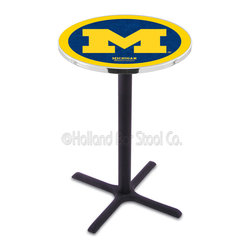 Holland Bar Stool - Holland Bar Stool L211 - Black Wrinkle Michigan Pub Table - L211 - Black Wrinkle Michigan Pub Table belongs to College Collection by Holland Bar Stool Made for the ultimate sports fan, impress your buddies with this knockout from Holland Bar Stool. This L211 Michigan table with cross base provides a commercial quality piece to for your Man Cave. You can't find a higher quality logo table on the market. The plating grade steel used to build the frame ensures it will withstand the abuse of the rowdiest of friends for years to come. The structure is powder-coated black wrinkle to ensure a rich, sleek, long lasting finish. If you're finishing your bar or game room, do it right with a table from Holland Bar Stool. Pub Table (1)
