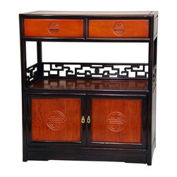 "Oriental Furniture - Rosewood Long Life Display Cabinet - Two-tone - A outstandingly attractive oriental style cabinet, with a practical and beautiful combination of drawer, shelf, and cabinet space. A classic in traditional Japanese and Chinese furniture traditions, with a fine two tone Cherry and honey stained Rosewood finish. These are handmade cabinets, built from solid kiln dried Rosewood, with ""Shou"" medallions symbolizing longevity, and wonderful, authentic geometric carved ""key"" design rails for good luck. The overhead drawers were designed for tea, the lower cabinet for pots and cups, the center shelf for preparing the tea service. These cabinets are only ten inches deep, making them beautiful accents that require very little floor space in the living room, bedroom, hall way, or landing."