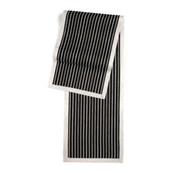 Black & White Pinstripe Custom Table Runner - Set a table for a king! or just your family and friends!! with our gorgeous Tailored Table Runner. Solid edging adds a touch of refinement, perfectly setting off the center fabric. We love it in this black and white woven ticking stripe as classic as chic and shiny piano keys.
