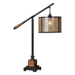 Uttermost - Sitka Lantern Table Lamp - Aged Black Metal Accented With Solid Wood Details Finished In A Heavily Distressed Rustic Mahogany And A Light Rottenstone Glaze. The Round Drum Shade Is Made Of Natural Mica With Aged Black Trim. Number Of Lights: 1, Shade: Round Drum Shade, Shade Size: Height: 8, Top: 12w X 12d, Bottom: 12w X 12d, Voltage: 110, Wattage: 150w, Bulbs Included: No