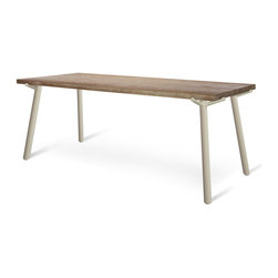 "Blu Dot - ""Blu Dot Branch 91"""" Dining Table, Grey"" - ""Solid, weathered oak propped up by black or grey powder-coated steel legs.  This table is available in two sizes: 76"""" and 91""""."""