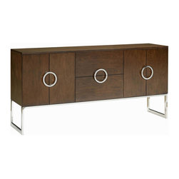 """Belle Meade - Belle Meade Jagger Sideboard - The Belle Meade Signature Jagger sideboard modernizes a classic look with metallic appeal. Atop sleek stainless steel legs, clean-lined doors with geometric pulls conceal practical storage. 72""""W x 18""""D x 35""""H ; Stainless steel base and pulls; Java brown finish; Walnut solids and veneers; Right and left cabinets: Drawers with silver liners and adjustable shelves; Two large center drawers"""