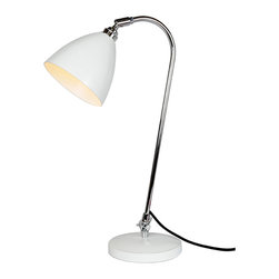 Original BTC - Task Solo Desk Lamp - White - Original BTC - Lights that can be moved, angled or adjusted bring greater flexibility and creative scope. The classic British Task range of lights in polished aluminum, red, olive green, putty, white or black-painted aluminium focuses a high level of illumination directly where it is needed. Stable, flexible and solid, shades can be angled and swiveled, to throw either a concentrated pool of light or illuminate a larger area.