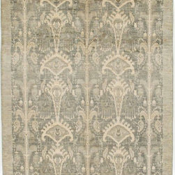 Rug Knots - Grey Oriental Ikat Area Rug with Border 6x9 - This Ikat rug gives off an eclectic feel. Created with modern designs, this rug appears as a rustic-like style rug due to the finishing process at the RugKnots facility. The muted colors and rustic style make this rug a perfect fit.